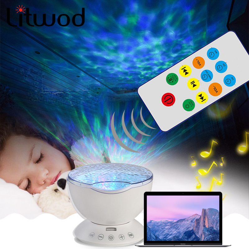 Litwod Z20 Remote control version of Hypnotic Ocean projector lamp night light sky projector USB Colorful wave of people gifts free shipping remote control colorful modern minimalist led pyramid light of decoration led night lamp for christmas gifts