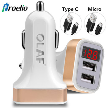 USB Car-Charger with LED Screen Smart Auto Car Charger Adapter Charging for iPhone 7 Samsung Xiaomi Car Mobile Phone chargers