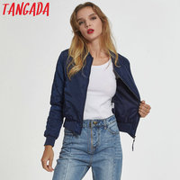 Tangada women basic navy bomber jacket autumn warm padded coat stand collar zipper pockets casual outerwear tops chaqueta SY01