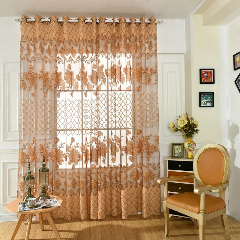 pastoral tulle voile doors window curtain drape panel sheer floral scarf valances living room bedroom - Valances For Living Room