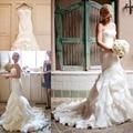 Strapless Spaghetti Ruffles Plissado Trumpet Sereia Vestidos de Casamento Robe de mariage vestido de novia 2017 Sexy Vestidos de Casamento