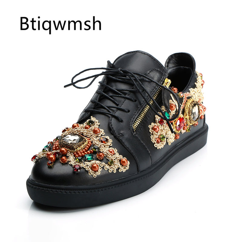 2019 Embroidery Sneakers Men Round Toe Rhinestone Diamond Embroidery Flats Shoes Men Fashion Loafer Shoes-in Formal Shoes from Shoes    1