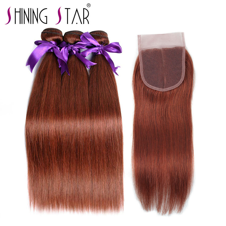 Brown Red 3 Straight Hair Bundles With Closure Color 33 Peruvian Human Hair Weave With Closure Shiningstar Nonremy Hair Notangle
