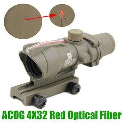 Прицел охотничьей винтовки ACOG 4X32, волоконно-оптический прицел с красной подсветкой