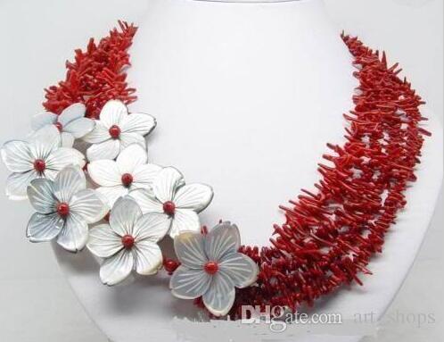 Charmant!!! Collier de fleurs en coquillage de corail rouge naturel