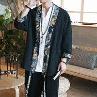 2019 summer men cotton linen china style kongfu coat male loose kimono cardigan overcoat open stitch coat mens windbreaker
