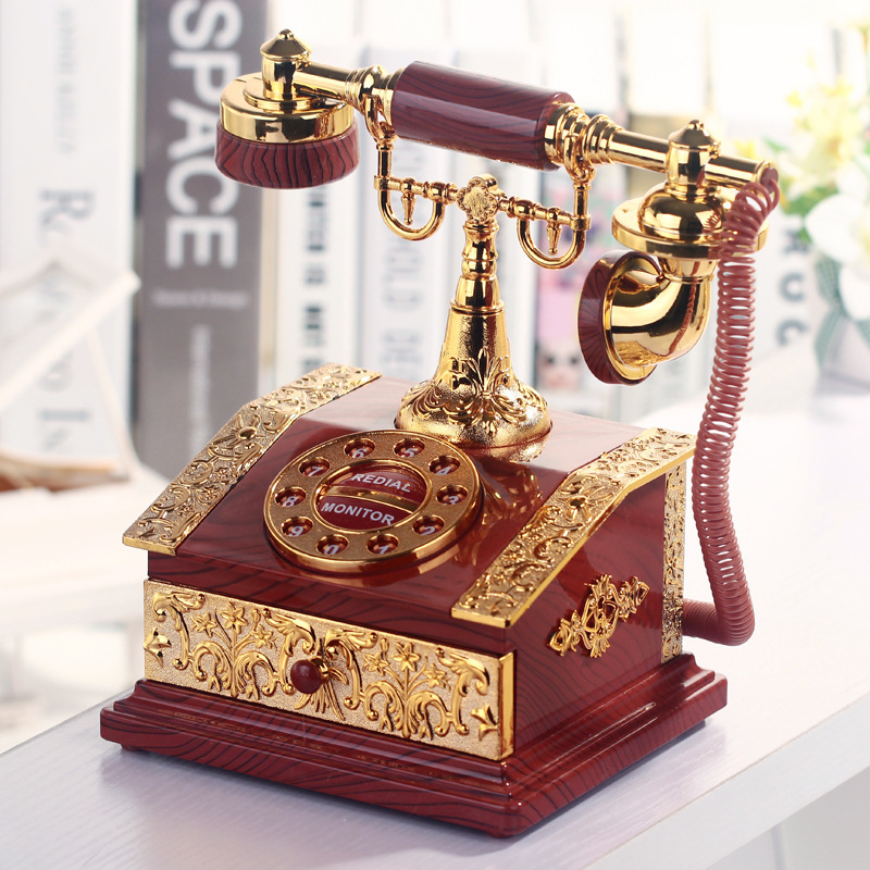Lover Wedding Home Decor Music Box Classical Red Telephone Figurine Desktop Jewelry Box