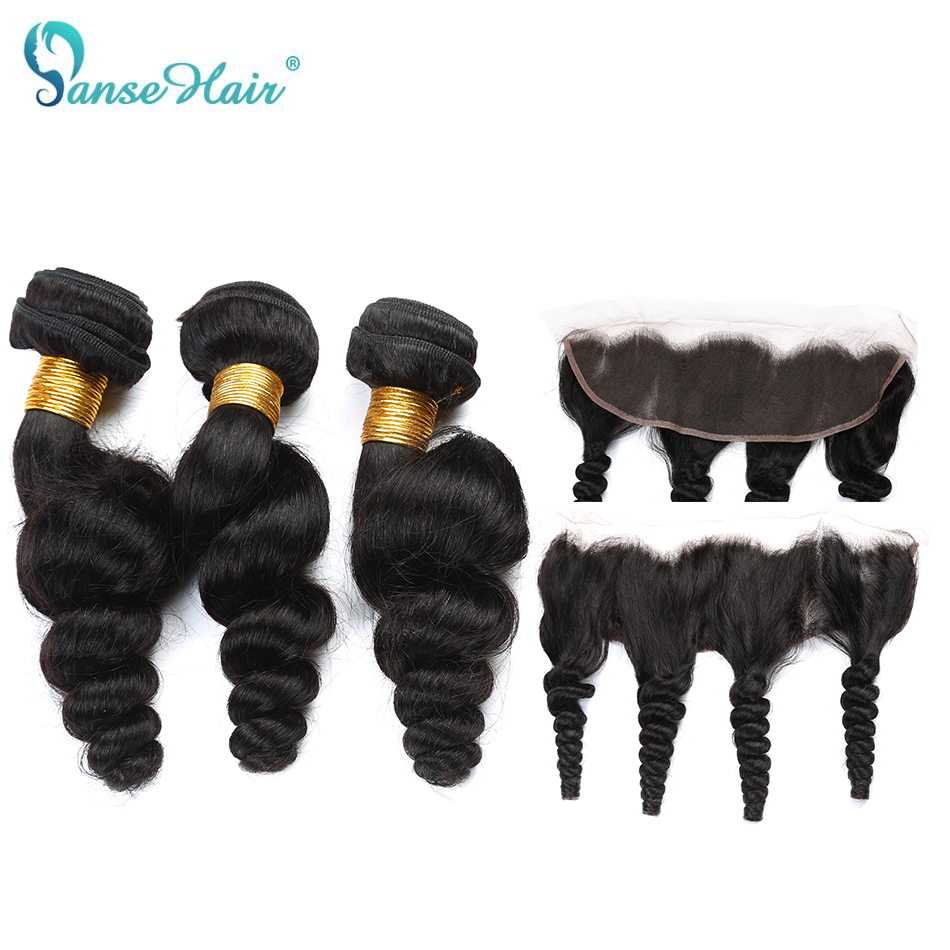 Panse Hair Brazilian loose wave hair 3 Bundles with a lace frontal non remy hair human hair extension free shipping can be dyed
