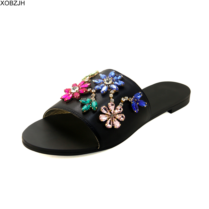 Summer Women Shoes Flat Sandals Luxury Ladies Rhinestone Shoes Woman 2019 black Leather Designer Sandals Slippers Lager Size 11 Summer Women Shoes Flat Sandals Luxury Ladies Rhinestone Shoes Woman 2019 black Leather Designer Sandals Slippers Lager Size 11