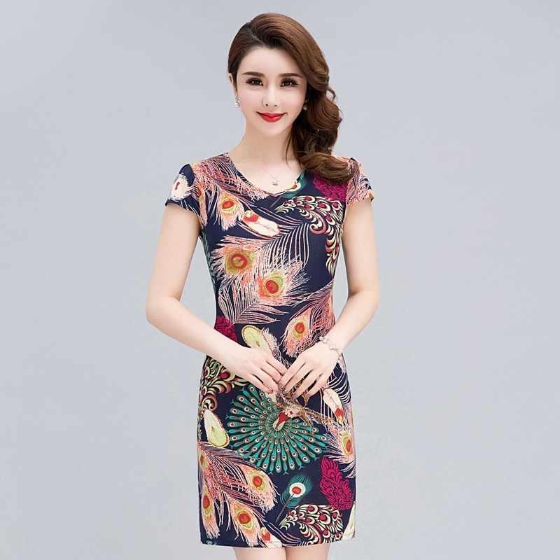 ceeb24cfcd6 Для женщин платье 2018 модная одежда Повседневное плюс Размеры Тонкий туника  молочные шелковые принтованные цветочные платья