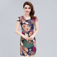 Women dress 2018 fashion clothes Casual Plus Size Slim Tunic Milk Silk print Floral dresses sexy bodycon sundress vestidos L-4XL
