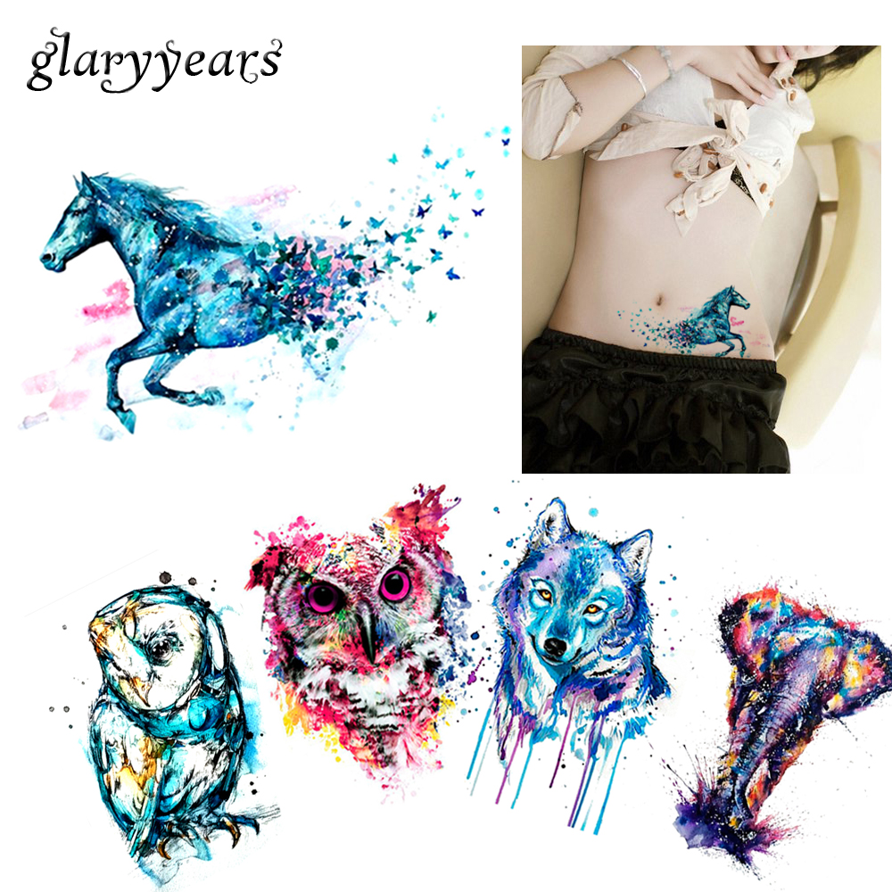 33ad4e041 5 Pieces Hot Body Tattoos for Women Arm Sexy Waist Watercolor Animals  Colored Raccoon Wolf Owl Body Art Temporary Tattoo Sticker