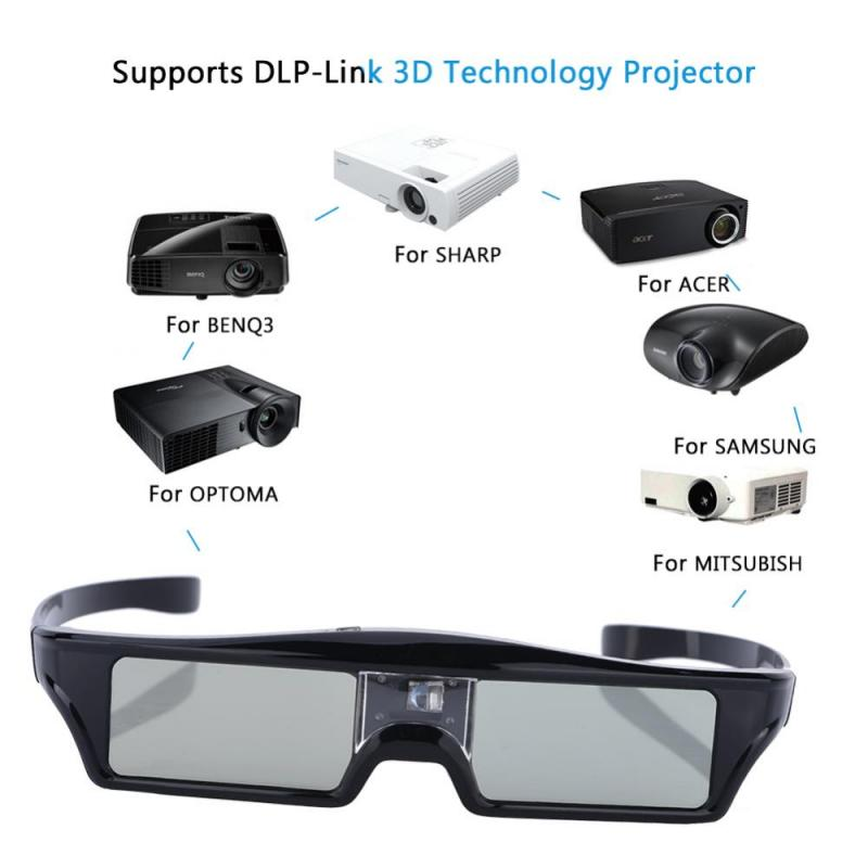US $25 31 |Active Shutter Rechargeable 3D Glasses Support 96HZ/120HZ/144HZ  For BenQ For Acer For Optoma & DLP LINK Projector-in Video Glasses from