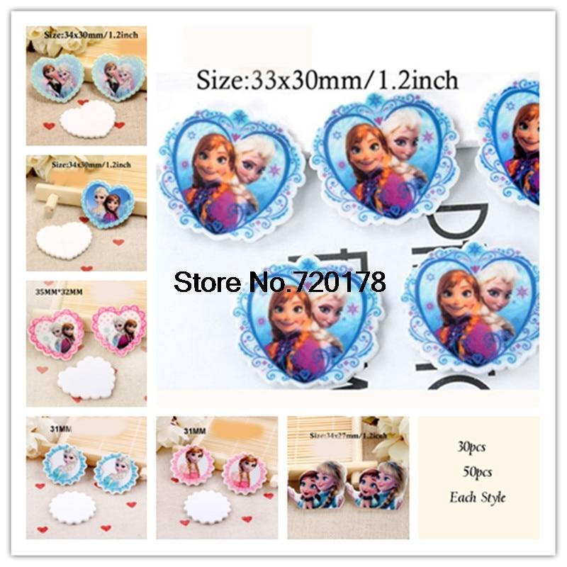 30pcs/50pcs 14styles cartoon princess sister character resin flatback planar resin DIY Craft Supplies JOR40-2