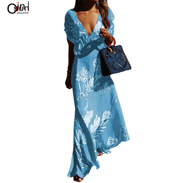 Osunlin New Summer Sexy Dress Women Multicolor Print Big Pen Irregular Dress Large Size Women Short Sleeve V-neck Dress