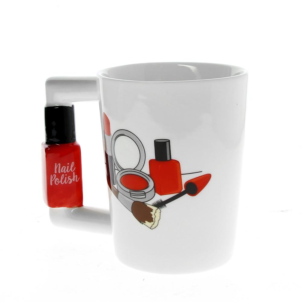 Creative Ceramic Mugs Girl Tools Beauty Kit Specials Nail Polish Handle Tea  Coffee Mug Cup Personalized Mugs for women Gift