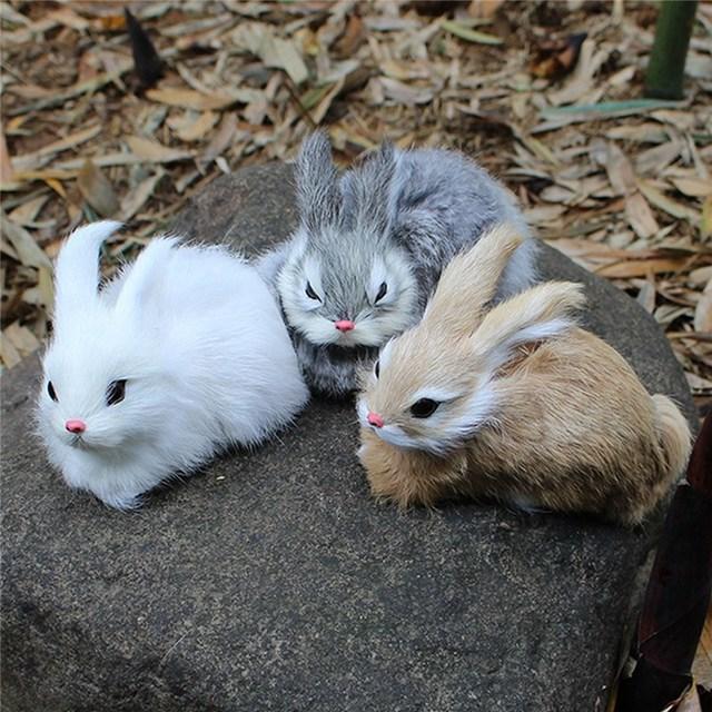 JIMITU 15 CM Mini realista blanco de peluche conejos de peluche de conejito de Pascua de conejo modelo de juguete regalo de cumpleaños