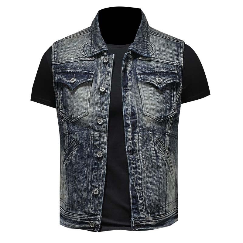 Hot NEW Men Denim Vest Hole Sleeveless Jean Jacket Casual Male Jeans Waistcoat Single Breasted  Plus Size 3XL