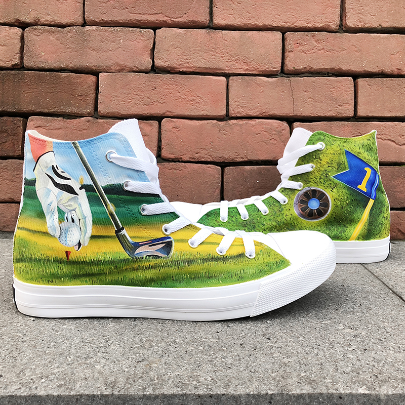 все цены на Wen Original Design Graffiti Shoes Green Grass Playing Golf Hand Painted Canvas Shoes Sneakers Men Women's Lace Up High Flat