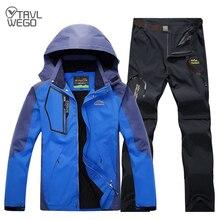 TRVLWEGO Men Autumn Spring Fishing Hiking Jackets Camping Trekking Pants Outdoor Travel Quick Dry Trousers Set Plus Size цена