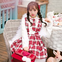 Princess Sweet Lolita Red Pattern Dress Candy Rain Woollen Chiffon Fake Two Pieces College Style Japanese