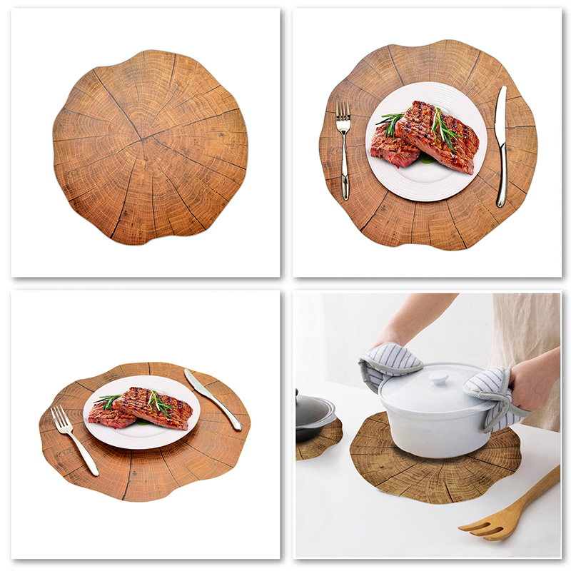 2Pcs Wood Placement Table Mats Dining Tableware Pad Lotus Shape Tea Cup Bowl Decoration Coaster Christmas Pads Dropship in Mats Pads from Home Garden