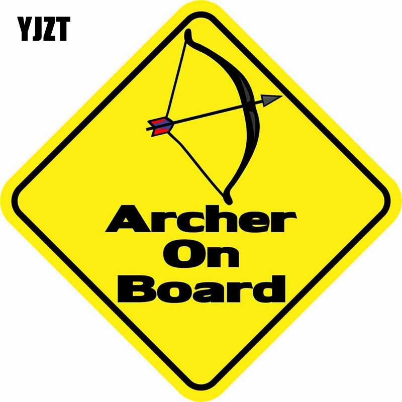 YJZT 11CM*11CM Car Styling ARCHER ON BOARD Warning Mark Car Window Reflective Car Sticker C1-7380