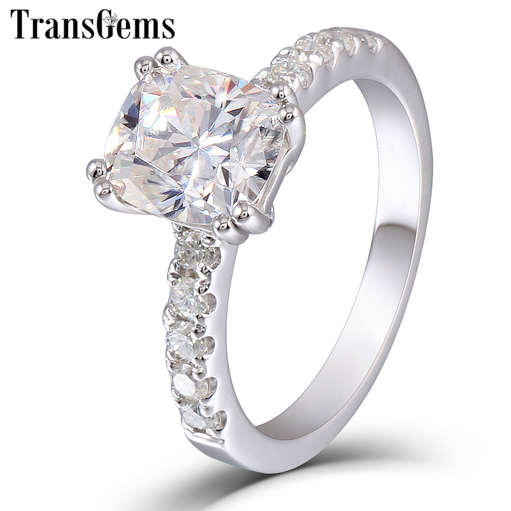 Transgems Platinum Plated Silver Ring Center 2ct 7X8mm H Color Cushion Cut Moissanite Engagement Ring for Women Wedding Gift transgems platinum plated silver 2 15ctw 5x7mm h color cushion cut moissanite simulated diamond earrings for women