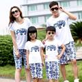 Free Shipping Summer Family outfits Cotton Cartoon elephant woman girls man Boys sets t shirt+ pants sets