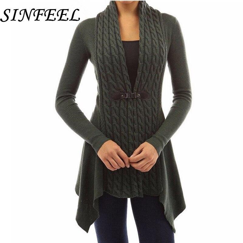 SINFEEL 5XL Autumn Winter Knitted Cardigans Coat Women 2018 Fashion Long Sleeve Poncho Sweater Long Cardigan feminino Plus Size