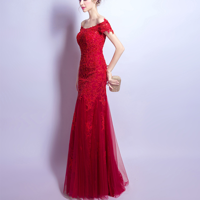 Luxurious red lace one shouldered sexy slim fish tail banquet dress New Year's party dress bridal wedding toasts dress