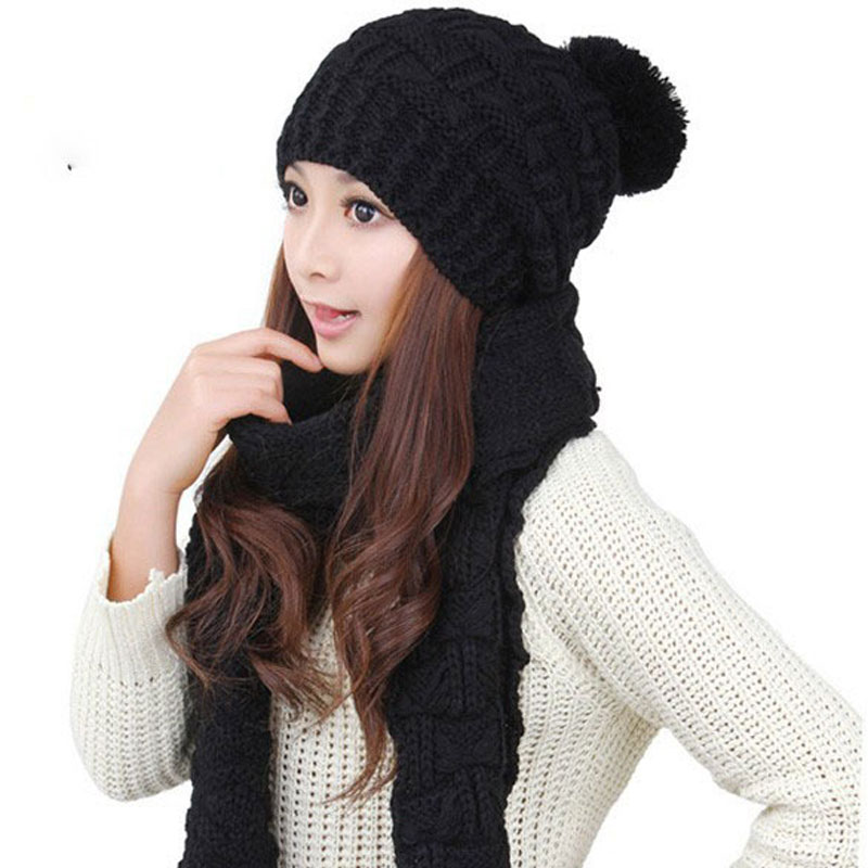 Autumn Winter New Woman Warm Scarves Thicken Wool Knitted Hats Crochet Skullies Gorros Woman Hats Two Pieces Hat + Scarf / Set