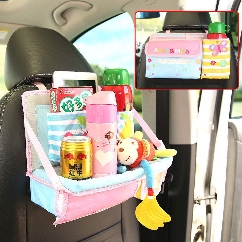 Mother & Kids Car Seat Back Cover Mat Baby Feeding Bottle Snack Tablet Organizer Cartoon Storage Bags Multi-functional Hanging Holders Activity & Gear