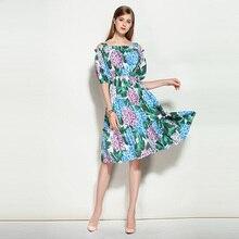 Высокое качество 2018 Модные Дизайнерские летние платье Для женщин элегантные с плеча ремень спагетти Повседневное зеленый Цветочный принт платье