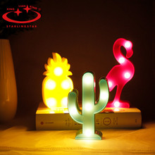 1Pcs LED Mini Night Lights Flamingo Pineapple Cactus Style Lights Festival Party Decorations Kids Baby Shower Gift