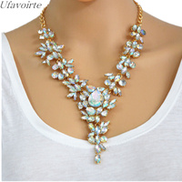 Ufavoirte Summer 4 colors Fashion Droplets Necklace Collar Rhinestone Necklace & Pendant Luxury Choker Clavicle Chain Statement