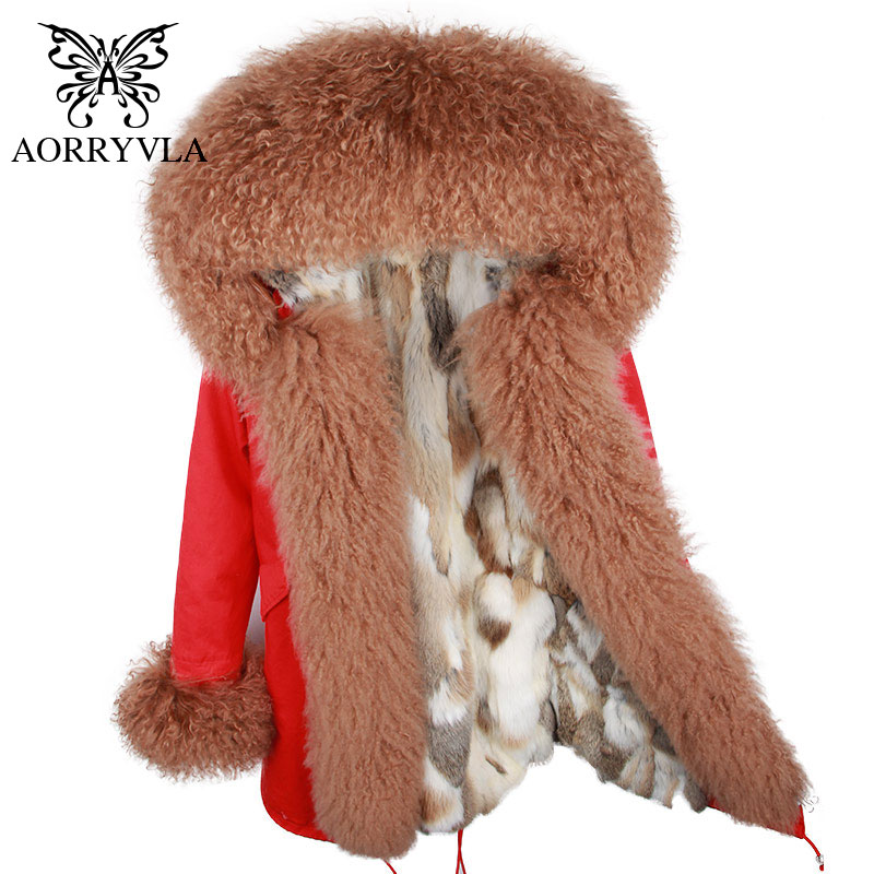 AORRYVLA 2018 Winter New Fashion Fur   Parka   For Women Long Coat Natural Sheep Fur Collar Hooded Rabbit Fur Liner Winter Jacket