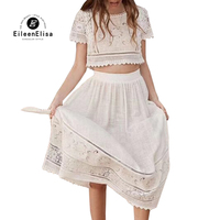 Floral Embroidered Skirt and Tops Womens 2 Piece Skirt Sets with O neck Collar 2019 Summer White Skirt Set