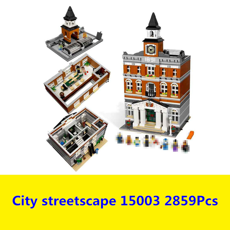Building Blocks Kit For Creators The Town Hall Model House Compatible With Lego 10224 15003 3D Bricks figure toys for children lepin15003 2859pcs city series the town hall model building kits blocks kid toy gift compatible with 10224