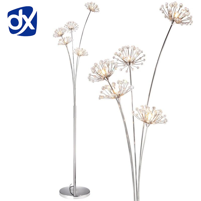 New Modern Crystal Floor Lamp For Living Room Flower Decorative LED Steel Standing Lamps Bedroom classic light By Italy Designer bedroom floor lights crystal floor lamps wedding decoration sitting room lighting modern floor lamps for living room lamp modern
