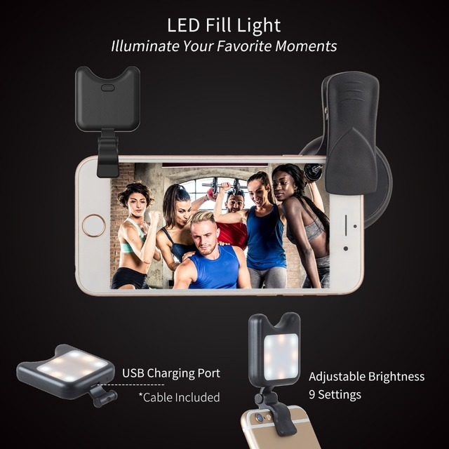 APEXEL Phone Camera Lens kit 0.45x Wide Angle Macro Lens+ rechargeable Led selfie Fill light for Samsung Xiaomi more cellphones 2