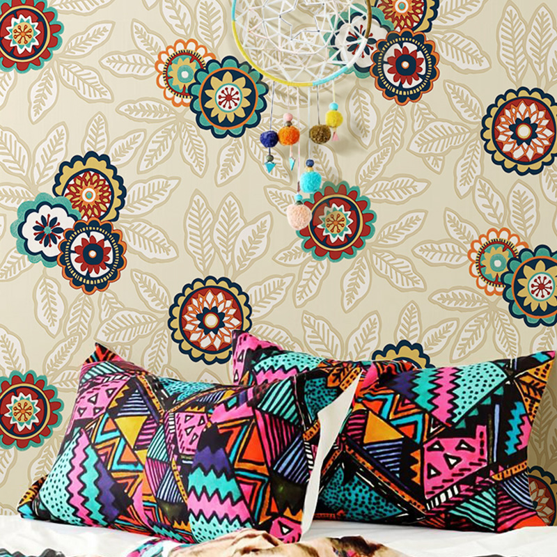 2016 New Papier Peint Nordic Personality Sunflowers Non-woven Wallpaper,ethnic Style Wallpaper For Living Room, Bedroom ,den beibehang pure non woven wallpaper fresh korean style small floral wall paper bedroom living room children s room papier peint