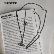 WFSVER Korea Style Silver Saturn Shape With Star Pendant Necklace For Women 925 Sterling Fine Jewelry