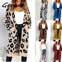 Women leopard knitted long cardigan sleeve sweater overcoat for female women 2019 autumn new outwear coats