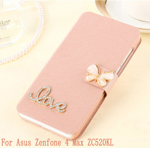 Phone Case For Asus Zenfone 4 Max ZC520KL Case wallet Leather Flip Cover case Butterfly capa For Asus Zenfone ZC520KL Case 5.2