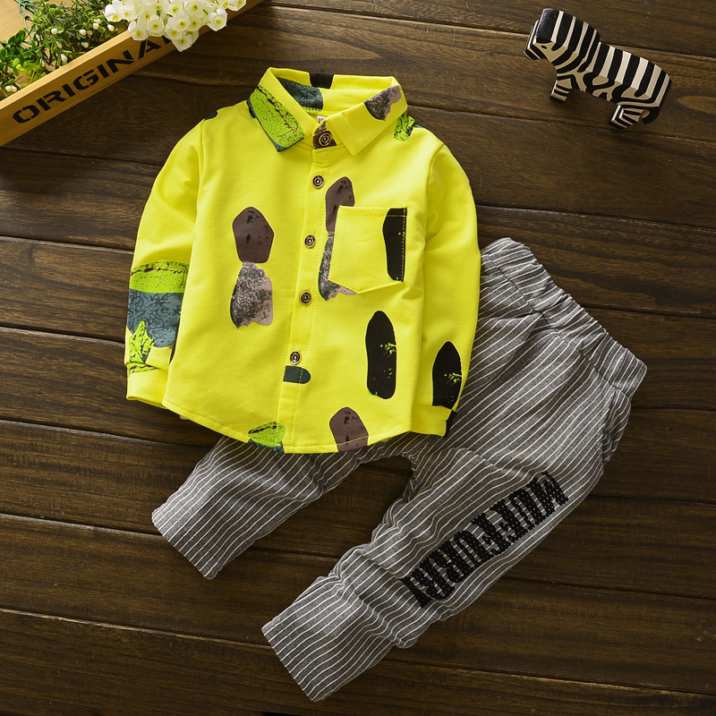 Free shipping new 2018 spring autumn cotton shirt+ trousers Full sleeved print stamp baby boys 2pcs suit kids