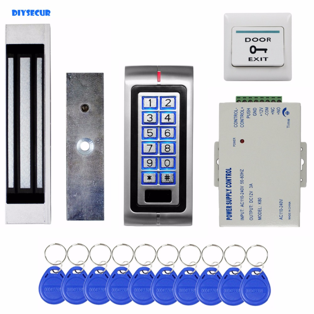 DIYSECUR RFID 125KHz ID Card Password Metal Keypad Access Control Security System Kit + 180kg Magnetic Door Lock K2 diysecur lcd 125khz rfid keypad password id card reader door access controller 10 free id key tag b100