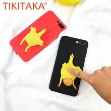 Squishy курица Телефонные Чехлы для iPhone 7 6 6 S Plus 3D Симпатичные мягкие силиконовые Забавный Vent Игрушка Радость лежал Яйцо курицу крышка Корпус Coque