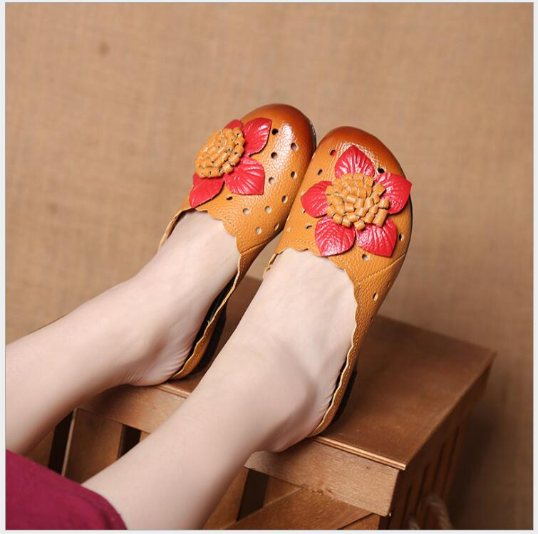 RUSHIMAN Summer Slippers Genuine Leather Flat Shoes Women Slides High quality Handmade Flower Comfortable Women Sandals 2018 new high end leather comfortable feet sandals classic sandals handmade leather slippers handmade leather slippers