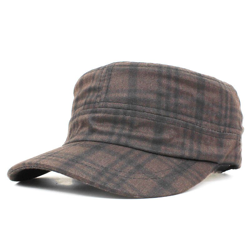 Classic Vintage Men Military Hat Adult Fashion Autumn Winter High Quality Warm Plaid Adjustable Flat Top Cap For Women AD107 image